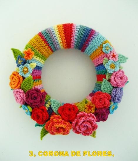 Corona de flores de ganchillo